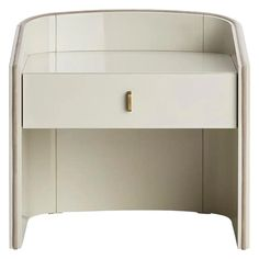 For Sale on 1stDibs - This beautiful bedside table which structure embraces the drawer can be fully finished in matte or glossy lacquer or combined with wood veneer drawer. Bedside Cabinet, Cabinet Furniture, Furniture Decor, Bedroom Furniture, Furniture Refinishing, Furniture Showroom, Luxury Furniture, Regency Furniture, Head Boards