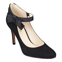 """Ladylike charm. Classic ankle-strap heels dolled up with a pretty bow. Feminine round toe. Back zip for easy on/off. Perfect for work. Perfect for parties. Padded footbed for all-day comfort. Suede upper. Man-made lining and sole. Imported. 3 1/2"""" high heels."""