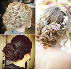 Curly prom and wedding updos Wedding Hair And Makeup, Wedding Updo, Bridal Hair, Hair Makeup, Bridesmaid Hair, Prom Hair, Fancy Hairstyles, Wedding Hairstyles, Asian Hair