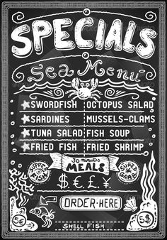 Detailed illustration of a vintage graphic menu for bar or restaurant on blackboard Illustration in EPS10 with color space in RGB.