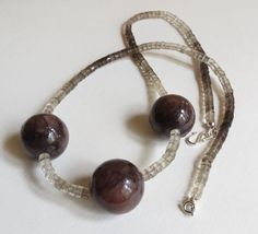 Brown Marble and Smokey Quartz Necklace Statteam by Smokeylady54