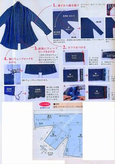 """The best DIY projects & DIY ideas and tutorials: sewing, paper craft, DIY. DIY Women's Clothing : We sew jacket """"on the bias"""" in Japanese. Sewing Clothes, Barbie Clothes, Diy Clothes, Clothes For Women, Sewing Patterns Free, Free Sewing, Clothing Patterns, Floral Patterns, Textile Patterns"""