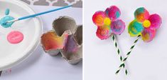 manualidades_para_recibir_la_primavera_flores_con_huevera_de_carton Diy For Kids, Crafts For Kids, Arts And Crafts, Paper Crafts, Diy Crafts, Water Bombs, Egg Carton Crafts, Food Coloring, Activities For Kids