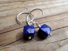 Lapis Earrings and Sterling Silver AAA Lapis Cube by StaggsLane