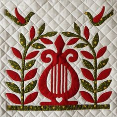Baltimore Squared is a lovely album-style quilt done in reds and greens with a touch of gold. The square quilt has nine (finished size) blocks set amidst wide sashings, Lemoyne Star cornerstones, and a delightful ruffled swag border. Christmas Quilt Patterns, Christmas Applique, Christmas Quilting, Antique Quilts, Vintage Quilts, Quilting Projects, Quilting Designs, Quilting Ideas, Applique Quilt Patterns