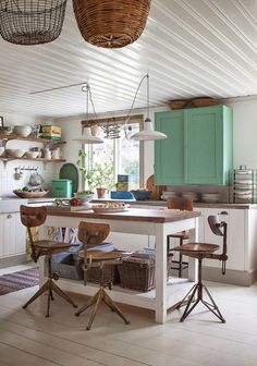 Country kitchen. Lovely colour ascent. See Farrow & Ball Arsenic for similar. www.willowandstone.co.uk