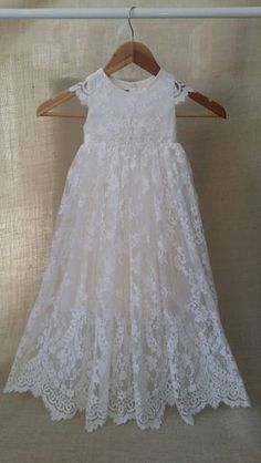 24a9313404e Sierra baby girl Lace long heirloom ivory couture christening baptism  cotton gown flower girl dress with cap sleeves scallop hem tulle