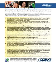 Recommendations for School Based Suicide Prevention Screening