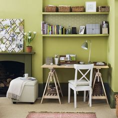 You can easily squeeze a home office into an empty living room alcove. Choose a desk or table with built-in storage and fit floating shelves above to hold files and stationery