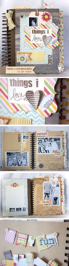 Scrapbook Ideas for Beginners | The Things I Love Scrapbook by DIY Ready at http://diyready.com/cool-scrapbook-ideas-you-should-make/                                                                                                                                                                                 More