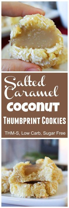 The Big Diabetes Lie Recipes-Diet - Salted Caramel Coconut Thumbprint Cookies (THM-S, Sugar Free, Low Carb) - Doctors at the International Council for Truth in Medicine are revealing the truth about diabetes that has been suppressed for over 21 years. Sugar Free Desserts, Sugar Free Recipes, Just Desserts, Low Carb Recipes, Cookie Recipes, Dessert Recipes, Crab Recipes, Cookie Ideas, Keto Desserts