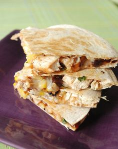 Pineapple Chicken Quesadilla  Flour Tortillas  1 tablespoon butter (to brown tortillas)  2 cups Grilled Pineapple, chopped  3 grilled chicken breasts, chopped  S, etc.   3 cups Monterey Jack Cheese  1/2 cup corn  1/2 cup black beans  Jalapeno, Sliced   Cilantro  Drizzled Barbecue Sauce