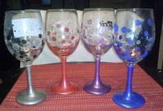 "Personalized hand painted wine glasses  $8.00 each  Created by ""Bling Bling Cling Cling"" To place your order today email Karen at: ktlligirlfriends@gmail.com"