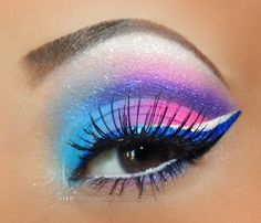 eye make up with bright blues, pinks and purples  #beauty #eyemakeup #ideas - bellashoot.com