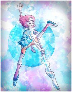 Steven Universe Pearl Crystal Gem Art Print Poster by JellyBreShop