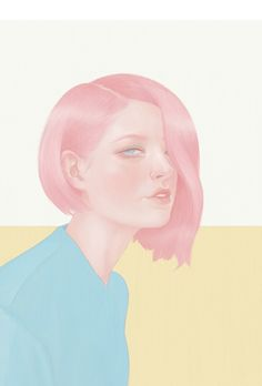 """Hsaio Ron Cheng, """"Pink Hair"""", Giclee, 19.7 x 42 cm, Edition of 25"""