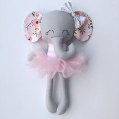 Items similar to Elephant doll - fabric doll - handmade doll - rag doll - girls room decor - girls toy - baby gift - cloth doll - elephant - plush - nursery on Etsy Sewing Toys, Sewing Crafts, Sewing Projects, Elephant Fabric, Unicorn Doll, Fabric Toys, Felt Dolls, Toys For Girls, Kids Toys
