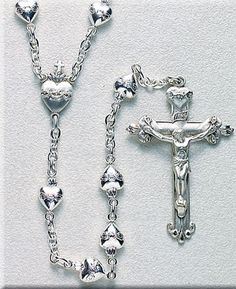 Sterling Silver Rosary with Silver Sacred Heart Beads. Sterling Silver Pins, chains, Sacred Heart center, 1 crucifix & clasps, this high quality rosary comes in a deluxe velour gift box. Rosary Prayer, Holy Rosary, Rosary Catholic, Praying The Rosary, Prayer Beads, Rosary Bracelet, Rosary Beads, Religion, Religious Jewelry