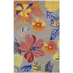 Safavieh Indoor/ Outdoor Four Seasons Grey/ Orange Rug (5' x 7') | Overstock.com Shopping - The Best Deals on 5x8 - 6x9 Rugs