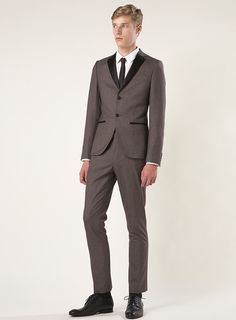 TOPMAN Brown Puppytooth Skinny Suit