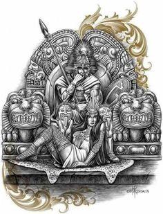 Warrior and goddess Chicano Drawings, Chicano Art, Chicano Tattoos, Arte Tribal, Aztec Art, Aztec Warrior Tattoo, Aztec Tattoos Sleeve, Mexican Art Tattoos, Mayan Tattoos