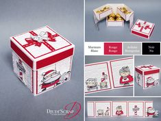 "Stampin & # Above! by Djudi & # Scrap – Ferrero Rocher Box Tutorial, Santa Claus ""Set Christmas Signs"" Diy Gift Box, Diy Box, Diy Gifts, Christmas Gift Box Template, Stampin Up Christmas, Kirigami, Ferrero Rocher Box, Boite Explosive, Coupons For Boyfriend"