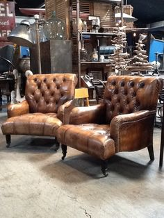 Vintage tufted leather chairs @Big Daddy's Antiques www.bdantiques.com