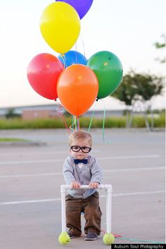 """UP"" costume for a toddler...     Please someone with a son, do this just so I can see it in person. In fact, even if you have a daughter, just do this. It won't be funny anymore by the time I have my own freakin' kids!"