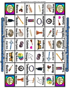 Classroom Instrument Game: Based on the game, Sequence. Helps students learn the names of instruments found in the classroom. Free download includes instructions, game board, and cards.