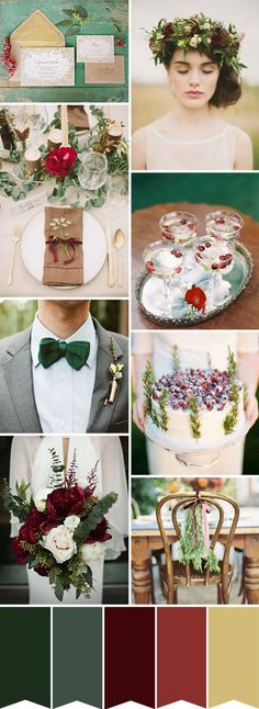 wow, almost your colors to a t - I like the simple chair tie -A Rustic Winter Wedding colour palette | onefabday.com