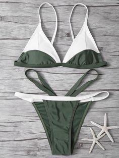 High Cut Color Block Bikini Set - ARMY GREEN S