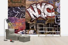 Graffiti & Street Art is a popular wall mural category for all rooms and settings. You can count on high quality and fast and free delivery with Photowall. Murals Street Art, Street Art Graffiti, Graffiti Wallpaper, Wallpaper Decor, Photo Wallpaper, New York Graffiti, Urban Graffiti, New York Theme Party, Scandinavian Wallpaper