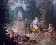 Frans Francken II. 1581-1642. Anvers. Jan Brueghel le Jeune (pour le paysage) . Vertumne et Pomone. Louvre. Pieter Bruegel, Archduke, Baroque, Rome, Dutch, Louvre, Painting, 16th Century, Scene