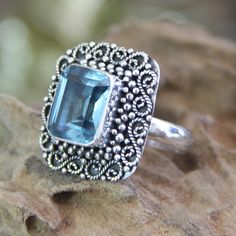 Novica Handcrafted Sterling Silver 'Java Skies' Topaz Ring (Indonesia) Women's