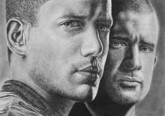 Prison Break Wentworth Miller Dominic Purcell Original Pencil Drawing Realistic  #Realism