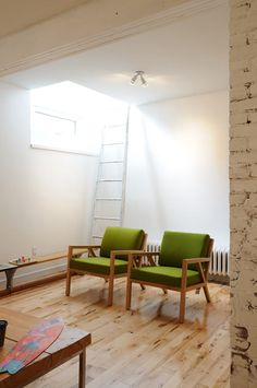 """Sneak Peek: Best of Ladders. """"This white ladder adds just the right amount of texture and intrigue to a sparse white wall in Amanda Schuler and Dave Podsiadlo's home."""" #sneakpeek #ladders"""