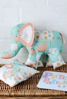Fabric Elephant & Pillow - free templates & directions