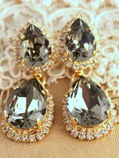 Dark Gray Swarovski Chandelier Statement Crystal Earrings