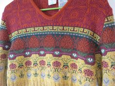 Vintage Oilily VNeck Sweater   Still awesome INSPIRATION only for this beautiful colour and pattern design