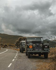 """heritageoverland: """"Land Rover Series II and Defender, Scotland. Image by our friend @1924us. """""""