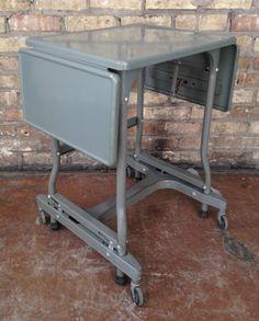Vintage Industrial Metal Rolling Typewriter Table Stand w Folding Leaves   eBay