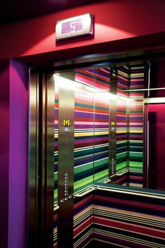 Graphic Glam... the elevators at hotel missoni have taken colour and style to a runway level of fashion. Premier Elevator utilizes the highest quality printers and lamination process for all our graphic interior design solutions. Check out our board of Graphic Wall Prints.   http://pinterest.com/premierelevator/elevator-graphic-wall-prints/