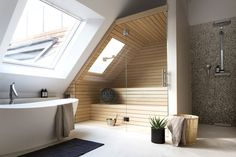Post with 0 votes and 2086 views. [Room] Shower, bath and sauna area in a penthouse loft located in Berlin, Germany. Interior Design Examples, Interior Design Inspiration, Design Ideas, Bad Inspiration, Bathroom Inspiration, Home Spa, Pent House, Modern House Design, Bathroom Interior