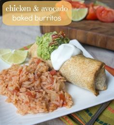Chicken and Avocado Baked Burritos - quick and healthy dinner option! LOVE IT!!