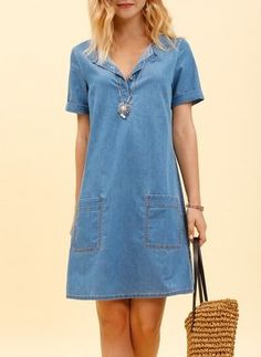 Dresses John Plain Above Knee Short Sleeve – Jennifer Hoffman – Join the world of pin Modest Dresses Casual, Summer Dresses, Casual Wear, Casual Outfits, Classic Outfits, Skirt Outfits, Denim Fashion, Bodycon Dress, Clothes For Women