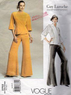 Vogue 2752, Misses Size 8,10, 12 Guy Laroche Designer,  Vogue Paris Original Kimono Sleeve Lined Jacket and Wide Leg Pants Pattern, by OnceUponAnHeirloom on Etsy