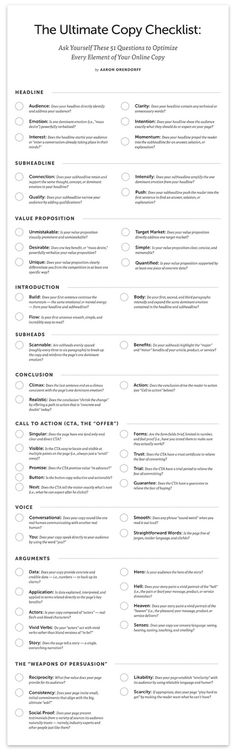The Ultimate Copy Checklist: 51 Questions to Optimize Every Element of Your Online Copy [Free Poster] - Copyblogger | Redaccion de contenidos web | Scoop.it