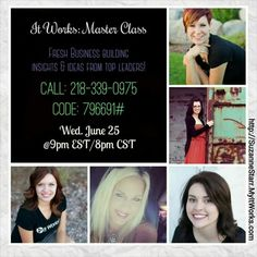 """""""What is #ItWorks?!""""  Listen tonight at 9pm to Part 3 with top Leaders who rock their #ItWorksGlobal businesses to find out.  Take some notes and call me afterwards so I can answer your questions about how you can make full-time income on a part-time basis! Suzanne 732-207-6819 http://SuzanneStarr.MyItWorks.com #wraps #debtfree #itworksincome #HireYourself #FireYourBoss #BetterTogether #Teamwork #InvestInYourself #stressfree #StartsWithOne #OurTime"""