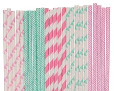 Paper Straw Mix Aqua Blue and Hot Pink Paper Straws Baby