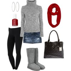 I love the scarf, and the whole Idea of this outfit, but maybe I'd switch the leggings and skirt to a cute pair of jeans. lol
